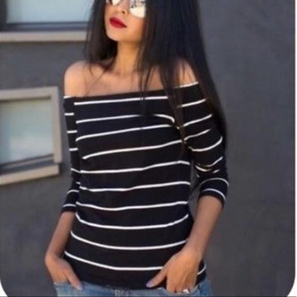af80ce0d2b2 ZARA NWT Striped Off the Shoulder Sweater